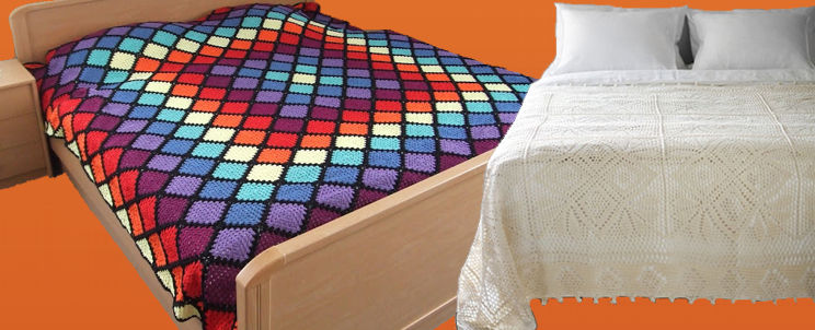 Cubrecamas a crochet, diseños únicosCasa Blanqueria