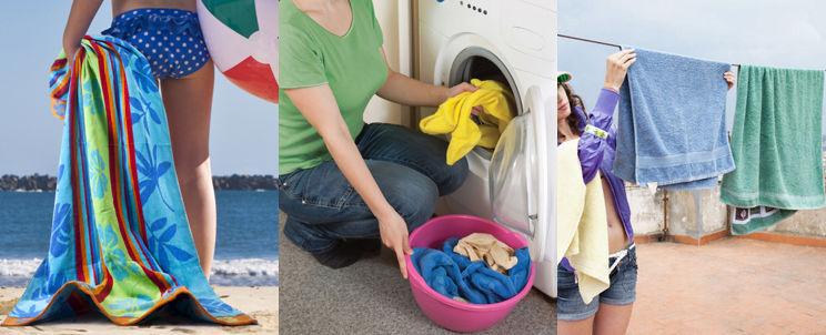 lavar toallas de playa